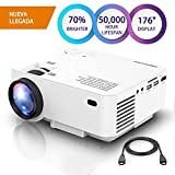 DBPOWER Mini Beamer, 2200 Lumen HD 1080P LED Video Projektor mit 176' Display, 50.000 Lebensdauer,...