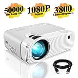 Mini Beamer, ELEPHAS 3800 Lumen Tragbarer LED Projektor, unterstützt 1080P, Max 180 'Display, 50000...