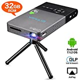 Mini Beamer,32GB Android 7.1 Projektor mit Stativ Fernbedienung, 120 Zoll Wireless Home Theater...