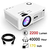 QKK 2200 Lumens LCD Beamer, Mini Beamer, unterstützt 1080P Full HD, HDMI, VGA, USB x 2, SD, AV und...