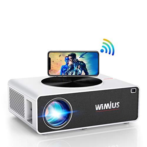 WiFi Beamer, WiMiUS 7000 Lumen 1080P Full HD Beamer Unterstützung 4K LED Heimkino Videobeamer...