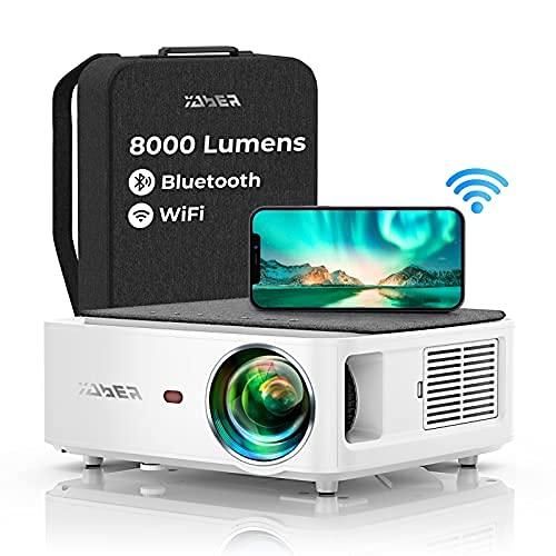 YABER WiFi Bluetooth 5G Beamer 8000 Lumen Full HD 1080P Heimkino Beamer, mit 4-Punkt...