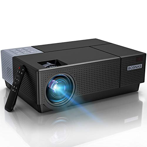 Beamer,BOSNAS B7 Full HD 4k Heimkino 1080P Video-Beamer 7000 LUX LED Tageslicht Beamer Heimkino...