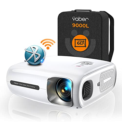 YABER 9000 Lumen Full HD 1080P Beamer WIFI Bluetooth 5G Beamer, mit 6D Auto Trapezkorrektur&4P/4D,...