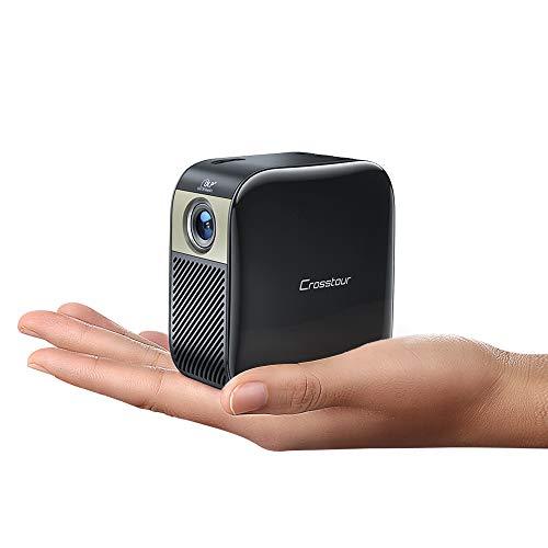 Mini Beamer, Handy Beamer Taschen Video Projektor mit 3000 mAh Akku Unterstützt Full HD DLP...