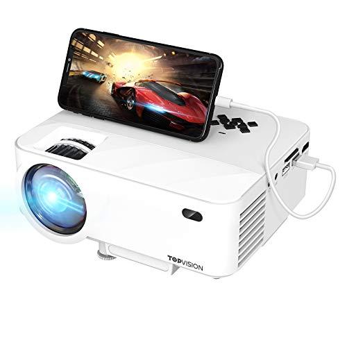 TOPVISION Mini Beamer mit Screen Mirroring,4500 Lumen Heimkino Beamer Full HD 1080P Video Beamer mit...