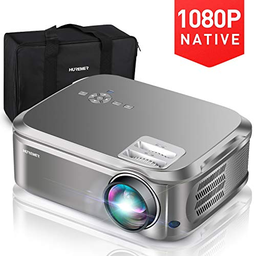 HUREMER Beamer, 6500 Lumen Full HD Native 1080P Beamer, Video Projektor Heimkino Mit 200'...