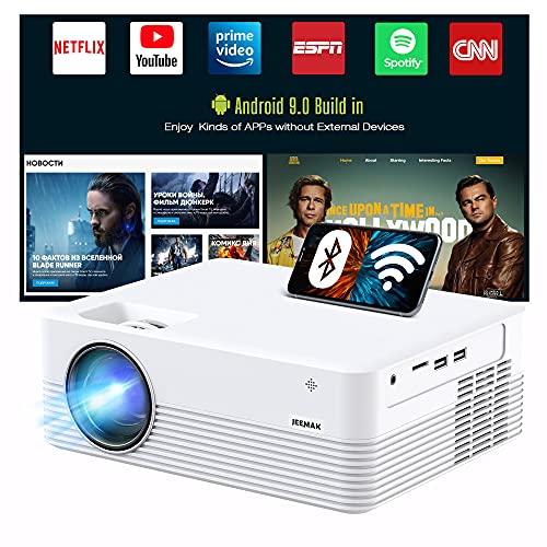 Android 9.0 Smart Projektor, JEEMAK WiFi Beamer Full HD 1080p Unterstützt, Mini Beamer handy für...