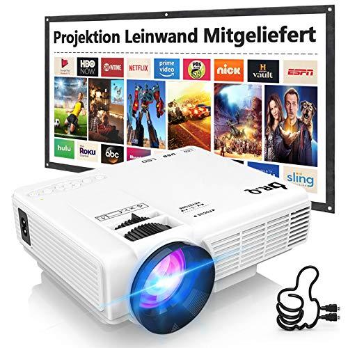 Beamer, DR.Q HI-04 Beamer mit 100 Zoll Screen, Mini Beamer 5000 Lumen Unterstützt 1080P Full HD,...