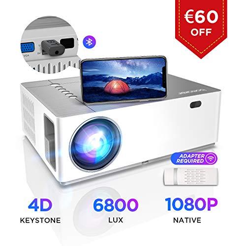 Beamer 6800 Lumen, BOMAKER Native 1080p Beamer Full HD, 4K, ±50° 4D Elektronische Korrektur, 50%...