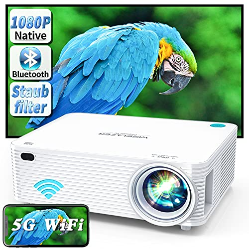 WISELAZER Video Beamer Full HD Native 1080P Projektor, 5G WiFi/Bluetooth/Eingebauter...