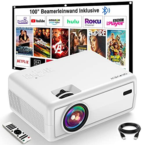 Projektor, GROVIEW Mini Beamer, 6000 Lux Video Beamer, Unterstützt 1080P, 240'' Display Tragbarer...